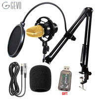 GEVO BM 700 Condenser Microphone Studio Wired Computer Mic BM700 NB 35 Holder For Microphone Pop Filter For kareoke PC Laptop