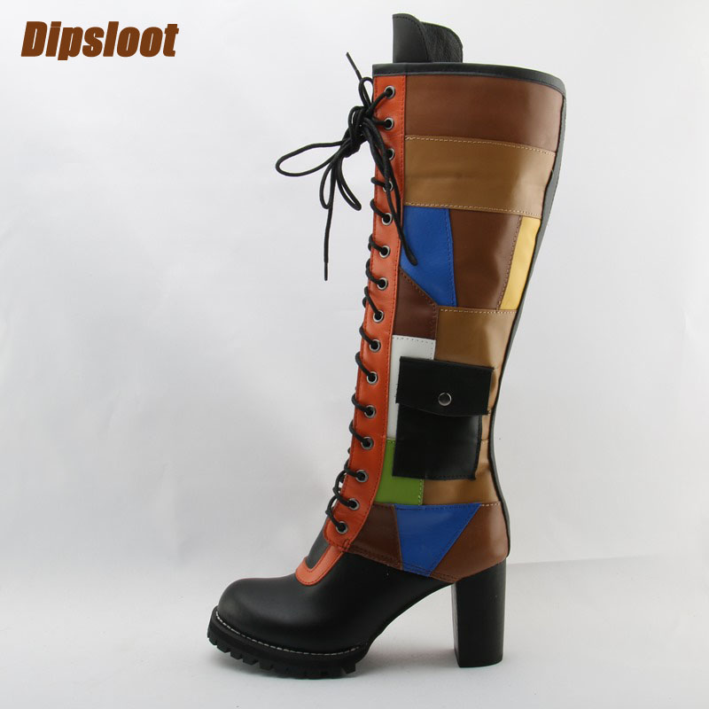 2018 Newest Mixed Colors Women High Quality Sheepskin Knee High Boots Round Toe Ladies Lace Up Chunky Heel Boots Pocket Boots high quality full grain leather and pu mixed colors boots size 40 41 42 43 44 zipper design lace up decoration round toe boots