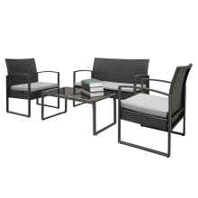 4pcs Arm Chairs Love Seat Tempered Glass Coffee Table Rattan Sofa Set недорого