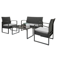 4pcs Arm Chairs Love Seat Tempered Glass Coffee Table Rattan Sofa Set