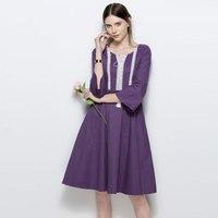 2017 Retro Hepburn Style Floral Lacework Splice Tassel Flare Sleeve Midi Vestidos Elegant Women Maxi Hippie