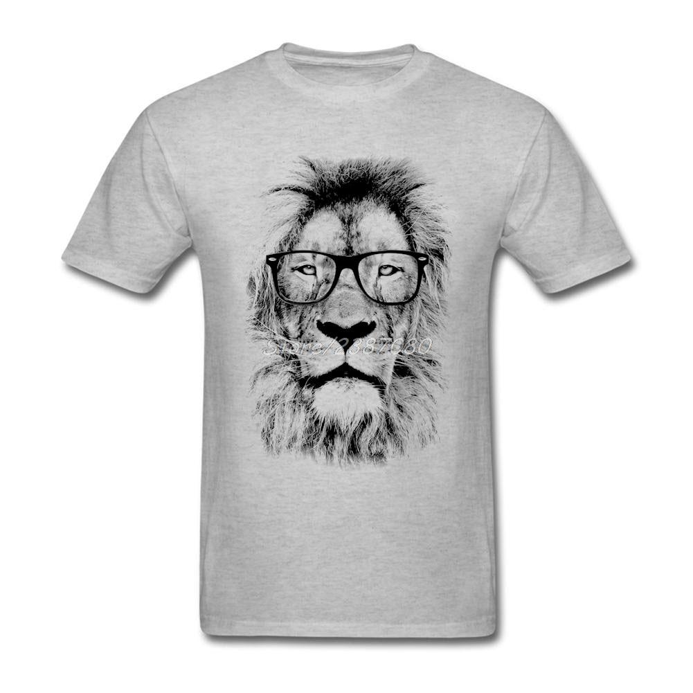 Fashion Cool Glasses Lion T Shirt Cotton Short Sleeve Custom  Men's Shirt New Style Crossfit Plus Size T Shirts