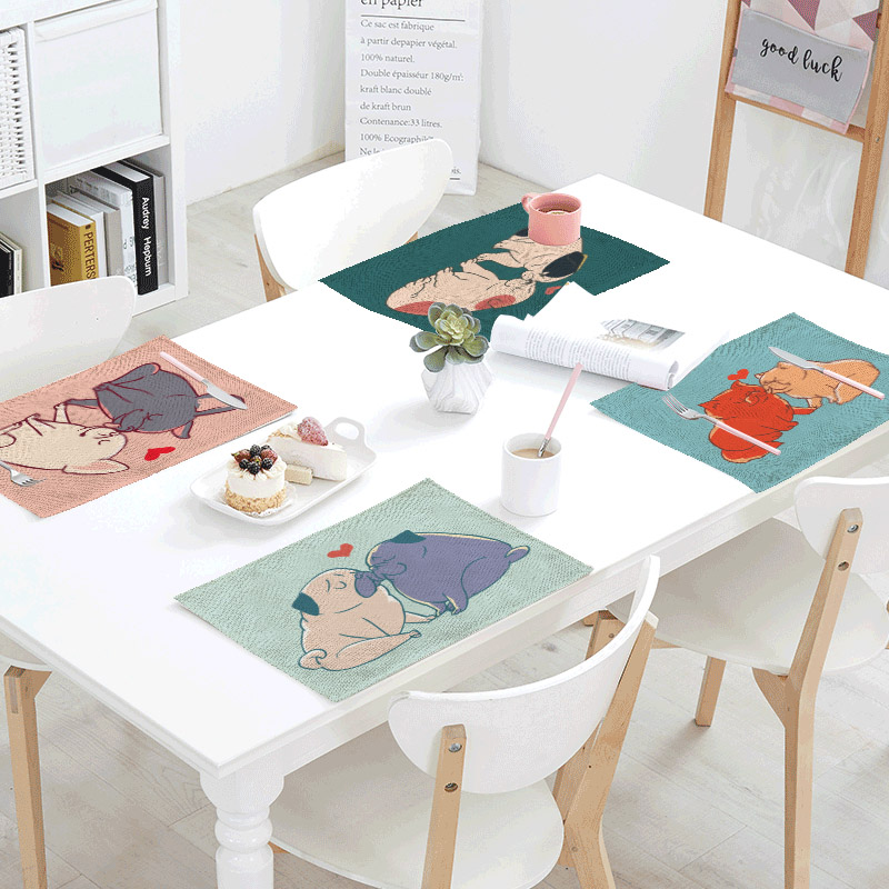 Couples Mate Table Cloth Tea Mat Place Mats Polyester Dog and Cats Foxes Otters Table Napkin Bar Design Party Wedding Decoration