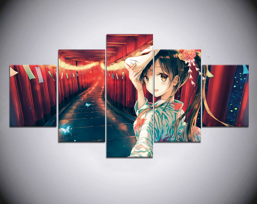 Mask girl Anime Home Decor Modern 5 Piece Paintings Wall Art Canvas Modern Canvas Painting HD Print Painting Wall Room Artwork in Painting Calligraphy from Home Garden