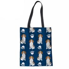 Хозяйственная сумка для женщин сумки экологически чистые сумки портативный 3D Бигл печать холщовые сумки шоппер сумки многоразового использования для покупок