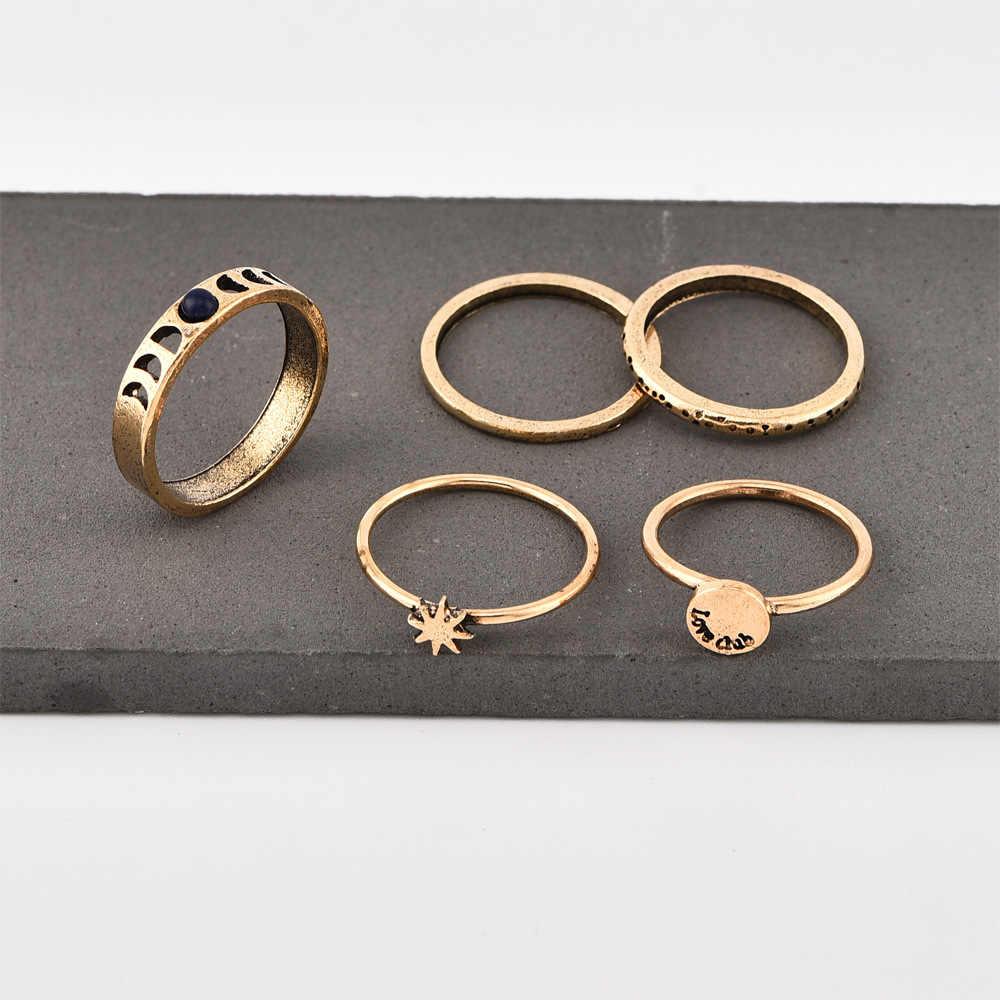 חדש טבעת פופולרי אופנה פשוט רטרו Awn כוכב ירח מכתבי נשים של טבעת שילוב פשוט אלגנטי חם למכור תכשיטים סיטונאי