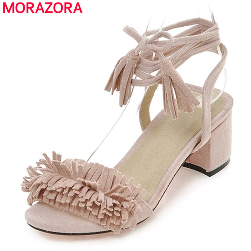 MORAZORA Plus Size 34-43 Gladiator Women Sandals New Hot Fashion Summer Sexy Party Wedding shoes Lace-Up Women Shoes Pink Red цены онлайн
