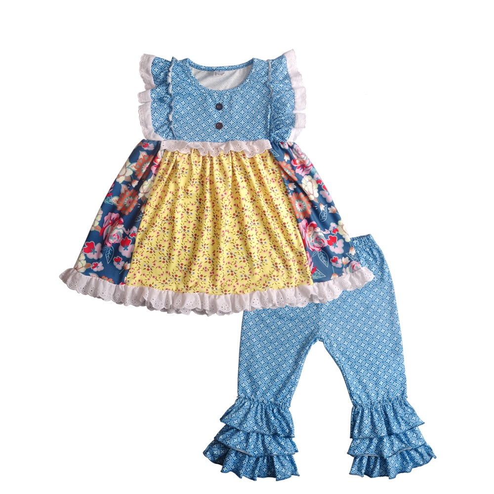 New Arrival Knitted Cotton Spring Summer Girls Sets Sleeveless Print  Ruffle Pants Matching Dress Without Headband 2GK812-946New Arrival Knitted Cotton Spring Summer Girls Sets Sleeveless Print  Ruffle Pants Matching Dress Without Headband 2GK812-946