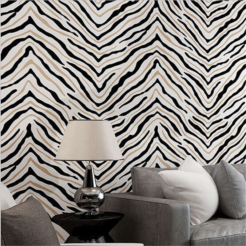 beibehang Fashion Zebra Print Wall paper Classic Simple Papel Parede Wall Panel Mural Non-woven Wallpaper roll beibehang non woven pink love printed wallpaper roll striped design wall paper for kid room girls minimalist home decoration