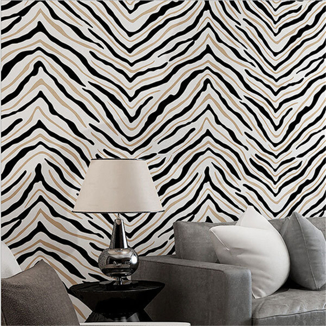 Beibehang fashion zebra print wall paper classic simple papel parede wall panel mural non woven