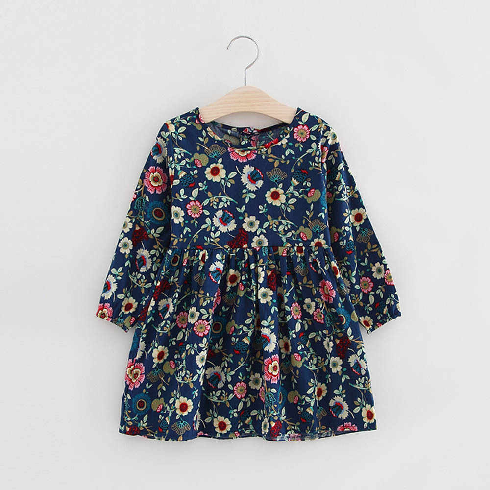 Toddler Girls Floral Dress Princess Dress Long Sleeve Kids Party Dresses For Girls Toddler Girl Dress Princess Costume Vestido