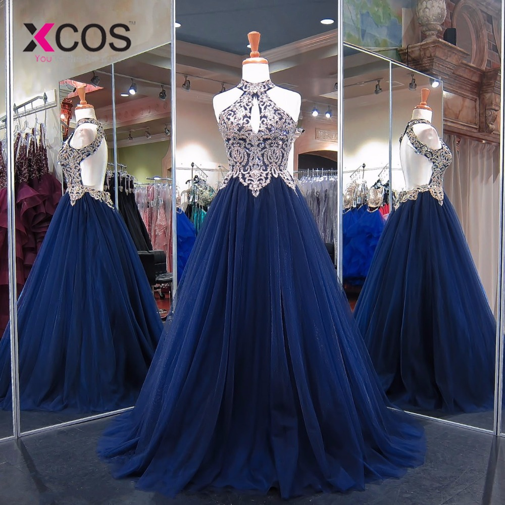 XCOS Sexy Navy Blue Backless   Prom     Dresses   2018 Lace Appliques Beads Long Evening Gowns Halter Vestido Formatura