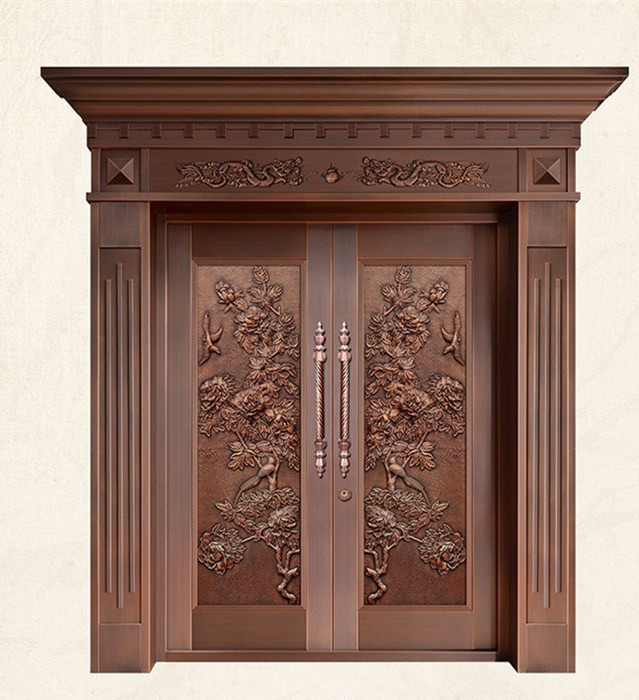 Bronze Door Security Copper Entry Doors Antique Copper Retro Door Double Gate Entry Doors H-c9