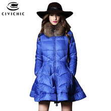 CIVICHIC  Women's High Grade Raccoon Fur Collar Down Jacket Warm Mid Long Coat Skirt Hem Eiderdown Parka Mantle Style Wear DC587