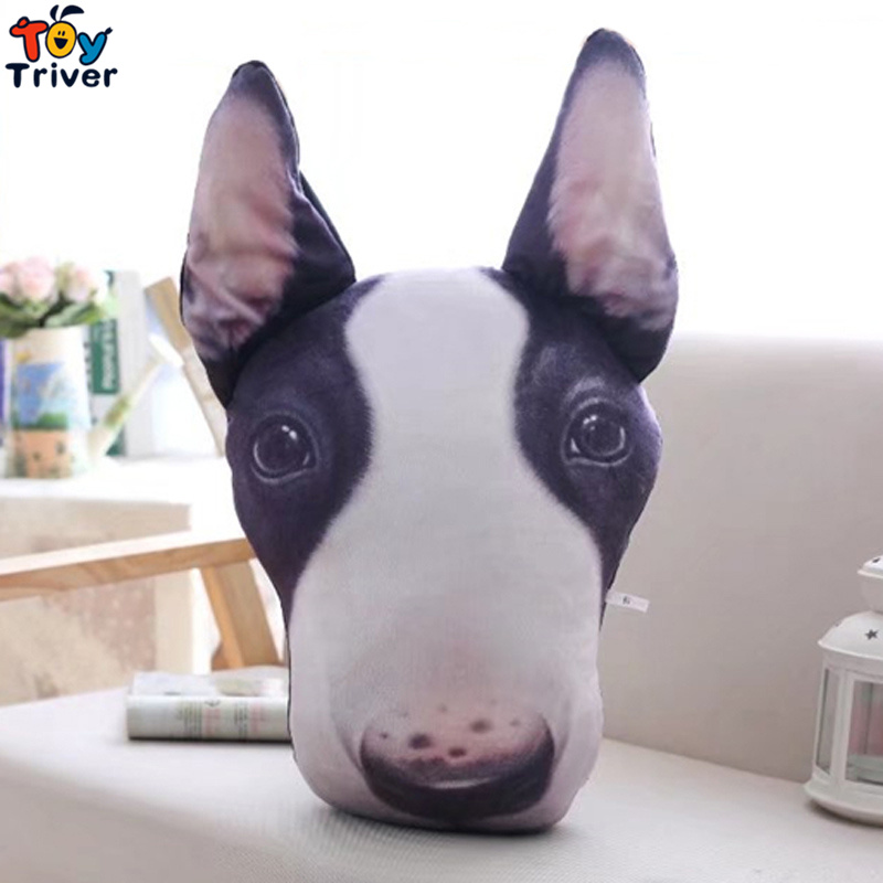 Plush Simulation Bull Terrier Lottweiler Chihuahua Dog Toy Stuffed Pet Head Pillow Birthday Party Gift Home Shop Decor Triver cute lie prone dog long pillow cushion bolster plush toy stuffed doll baby kids friend birthday gift home shop decor triver page 2