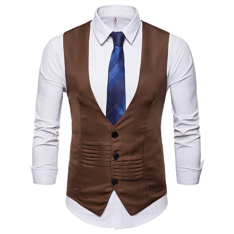 New Tops men 39 s Business suit vest slim fit Single Breasted Vest Vintage Fold design casual style solid color Vest US size in Vests from Men 39 s Clothing