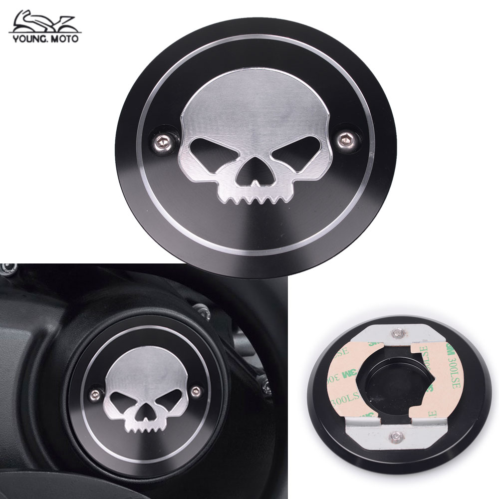 Black Motorcycle Skull Engine Side Cover Engine Accessories Derby Right Side Cover For Harley Street XG500 XG750 2015-2016