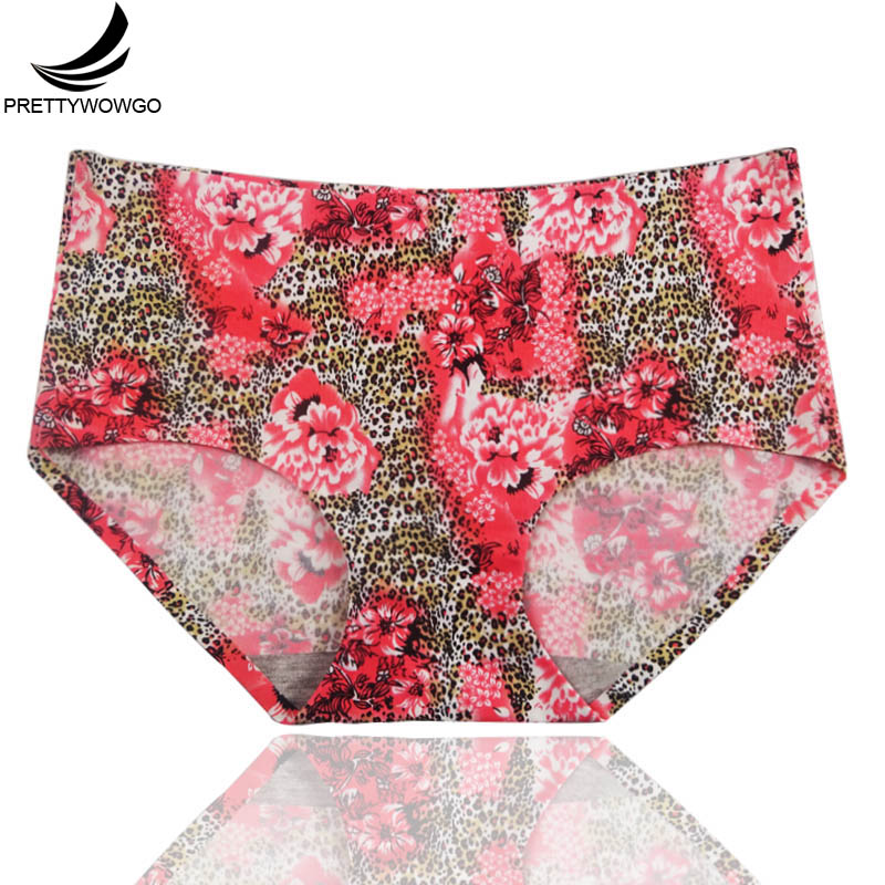 Prettywowgo Underwear 2018 Spring and Autumn New Arrival Women Florals Printed One-piece Seamless   Panties   1013