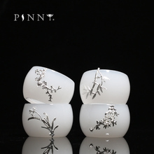 PINNY 45ml Jade China With Silver Tea Cups White Porcelain Traditional Chinese Drinkware Hand Made Kung Fu