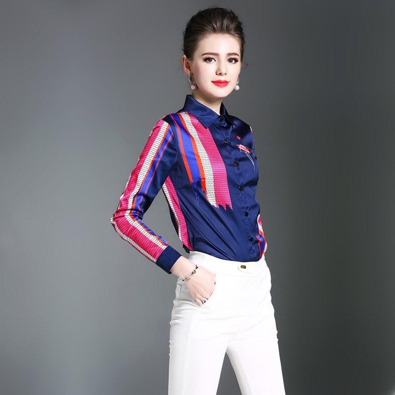 Blouse Satin Usure Feminina Plus La Haute Qualité De Taille Femmes L'europe Bases Uniforme Vêtements Bureau Top Élégant Vintage Blue Chemise q04fv