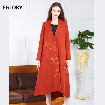 Casaco Feminino 2018 Winter Wool Blend Outerwear Coat Women Vintage Embroidery Covered Button Plus Size Wool Cashmere Coat Femme