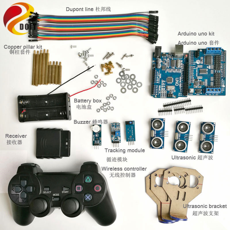 Kit de commande de poignée sans fil avec carte UNO + pilote de moteur + Joystick + capteur à ultrasons + Module de suivi + Buzzer pour voiture Arduino bricolage