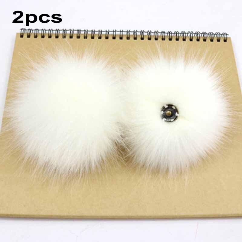 2Pcs Faux Raccoon Fake Fur Pom 10cm Ball W/ Press Button 8cm Ball W/ Rubber Band Fluffy Pompom Pendant Caps Clothes Hat Bag Shoe