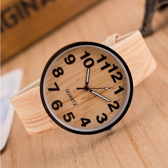 Quartz Wristwatches Wood Grain Leather Women Watch Fashion Casual Simple Clock W