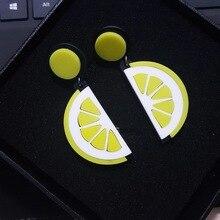Панк акриловые мода фрукты lemon серьги стержня для женщин ночной клуб ухо ювелирные изделия хип-хоп