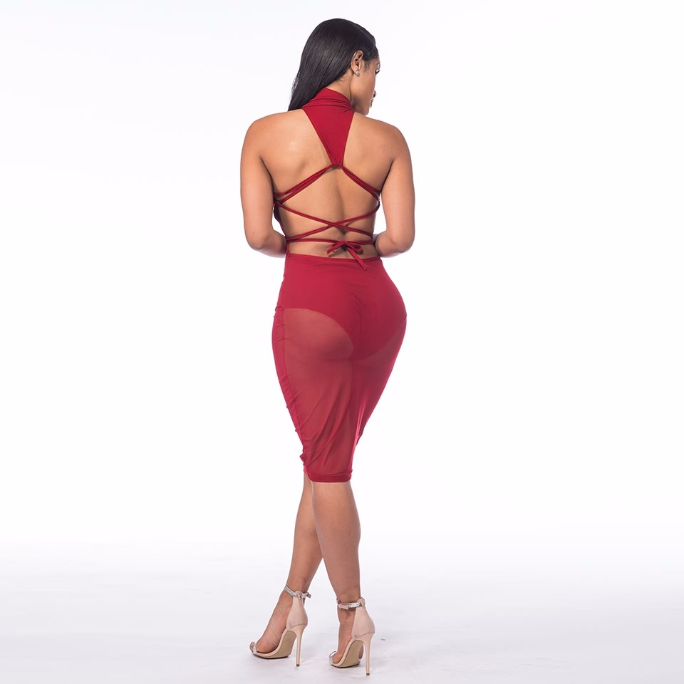 Sedrinuo Fashion Sexy Club Women Dress Slim Round Neck Backless Bodycon See Through Red Pencil Party Dresses Vestidos 11