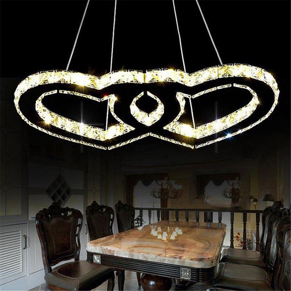 2017 New Design LED pendant lights Modern crystal heart in heart ...