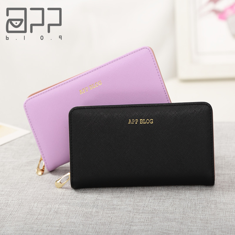 APP BLOG Luxury Brand Women's Purse 2017 Newest Fashion Zipper Clutch Wallet Phone Key Card Holder Bags For Femme Carteiras вешала e blog led