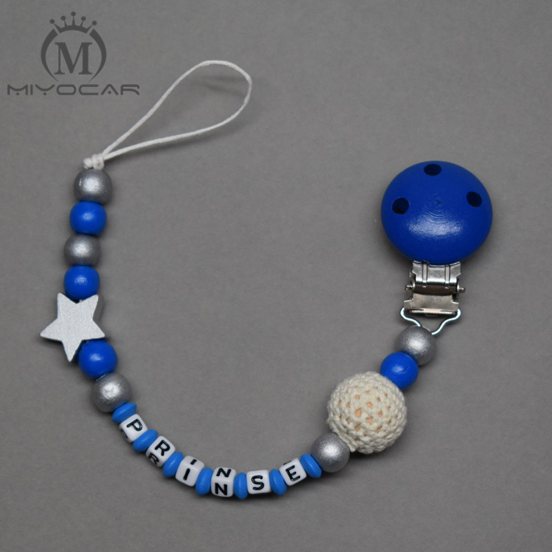 MIYOCAR Personalized Any Name Lovely Blue And White Wooden Beads Dummy Clip Holder Pacifier Clips Holder/Teethers Clip  For Baby