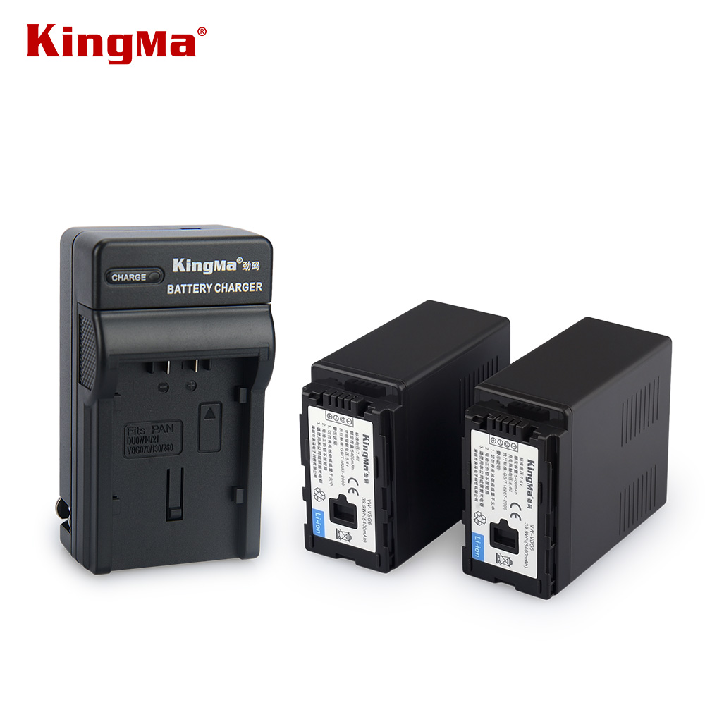 KingMa 2PCS High Capacity 5400mAh Rechargeable Li-ion Camera Battery VW-VBG6 VBG6 For Panasonic AG-AC130 AG-AC160 Camcorder