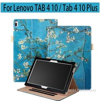 Tab4 10 Plus X704F X704N PU Leather Case Cover Print 10 1 Stand Skin For Lenovo