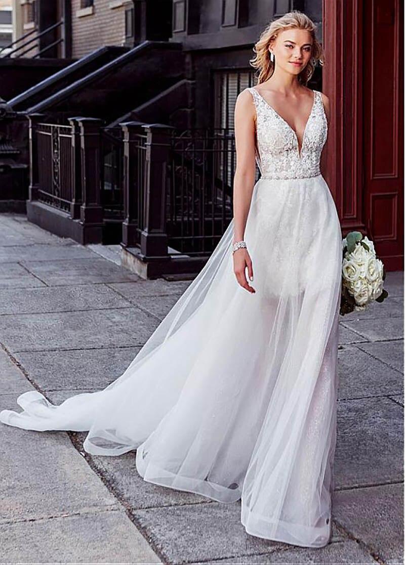 Smileven Wedding Dress 20 Pieces Detachable Train Boho Bride Dresses Sexy  Short Shirt Wedding Bridal Gowns 20019 Turkey Style