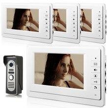 YobangSecurity 7 Inch Wire Video Door Phone Doorbell Entry System Home Security Camera Video Door Intercoms 1-camera 4-monitor