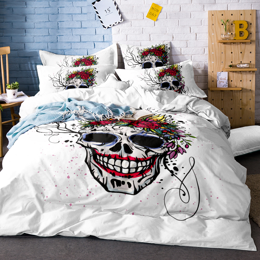 3Pcs Skull with smile face Duvet Cover White Bedding Set Soft Quilt Cover Single Bed Cover Comfortable Queen size SJ133