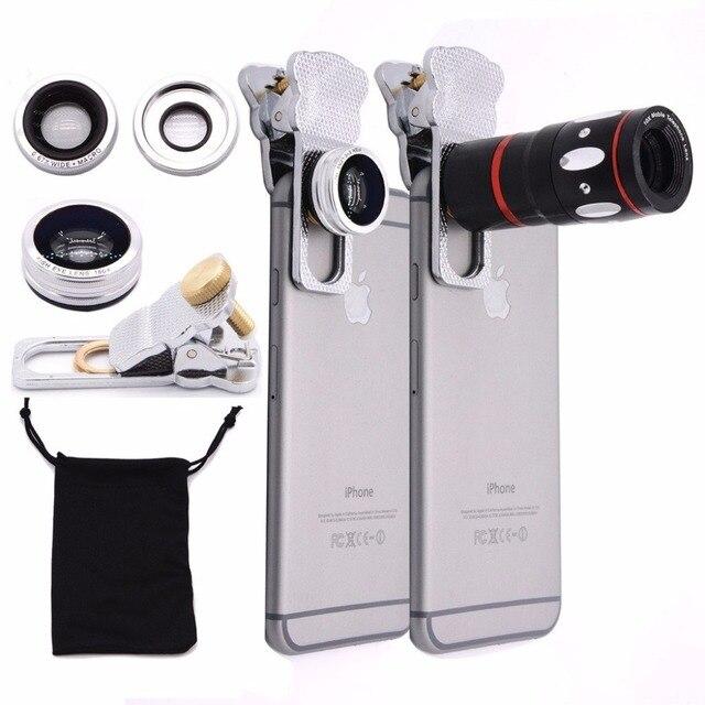4in1 Universal Telescopio de 10X Zoom + Ancho + Lente Macro + Lente 180 lente ojo de pez para iphone 6 6 s plus y teléfonos móviles CL-3-LX