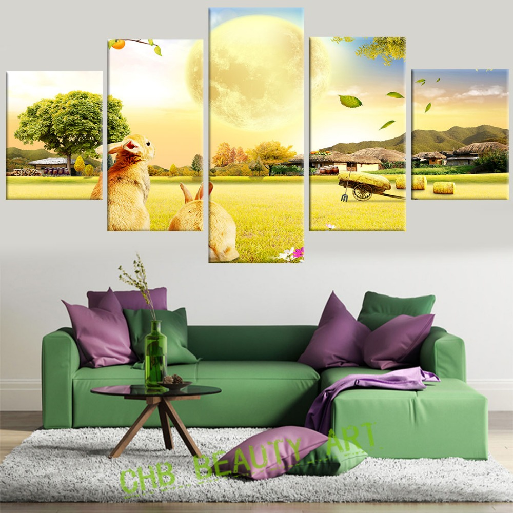 5 Pcs/Set Harvest Farm Canvas Painting Wall Art Home Decoration Wall ...
