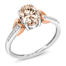 925 Sterling Silver and 10K Rose Gold Oval Morganite and Diamond Accent Women's Ring 1.00 cttw Available in size 5, 6, 7, 8, 9(China)