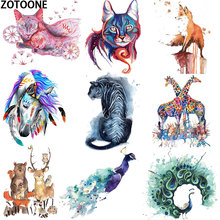 Summer Patch Iron on Transfer Cartoon Colour Lion Tiger Horse Paste heat transfer sticker Clothing DIY Peacock printing E