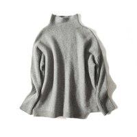 Women Pullovers 100%Wool knitted Turtleneck Rib knits Sweater 2018 FALL Winter Bottoming knit shirt Dark Red