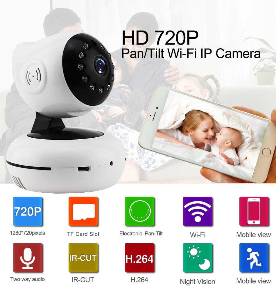 1XQ-720P Mega pixel Night Vision IR Webcam CCTV Camera WiFi Wireless HD IP Camera Pan Tilt Security TF Card Storage P2P H.264 Hot