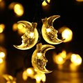 LED Moon Solar String Lights, 20ft 30 LED Christmas Lights with Light Sensor for Outdoor Christmas Party and Holiday Decor
