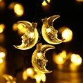 Luna LED Luces Solares de la Secuencia, 20ft 30 Luces con Sensor de Luz LED de Navidad para la Fiesta de Navidad Al Aire Libre y Decoración Navideña