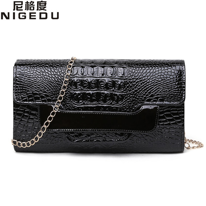 NIGEDU Brand Crocodile clutch purse Luxury Party evening bags Patent Leather Shoulder Bag for women Chain Messenger Bag Clutches 2016 fashion famous brand handbag folding clutch purse evening party leather women shoulder messenger bag bb0808