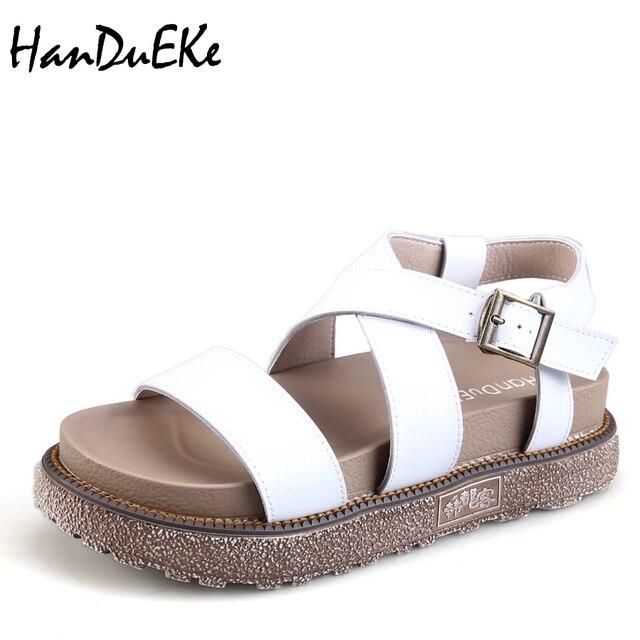 186ccdc5e4b7f HanDuEKe 2018 muffin sandals summer new female thick soled sandals women  comfortable summer platform shoe plus size 34-43
