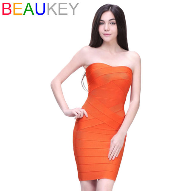 Kim Kardashian Strapless Off Shoulder 2016 Sexy Women Dress Rayon Bodycon Wholesale Cheap Mini Nude Bandage Dresses  1