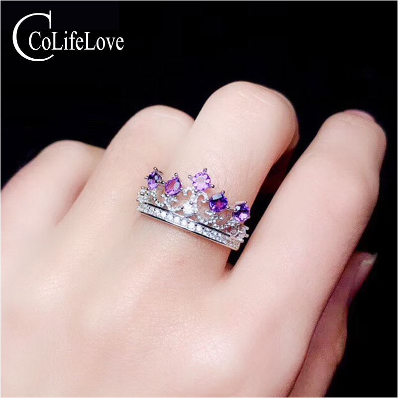 CoLife Jewelry Sterling Silver Amethyst Ring for Young Girl 5 Pieces Natural Amethyst Silver Ring 925 Silver Amethyst JewelryCoLife Jewelry Sterling Silver Amethyst Ring for Young Girl 5 Pieces Natural Amethyst Silver Ring 925 Silver Amethyst Jewelry